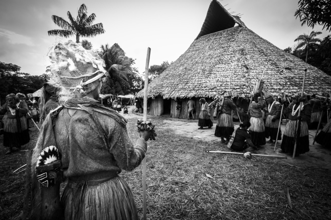 A community longhouse near the Miriti River