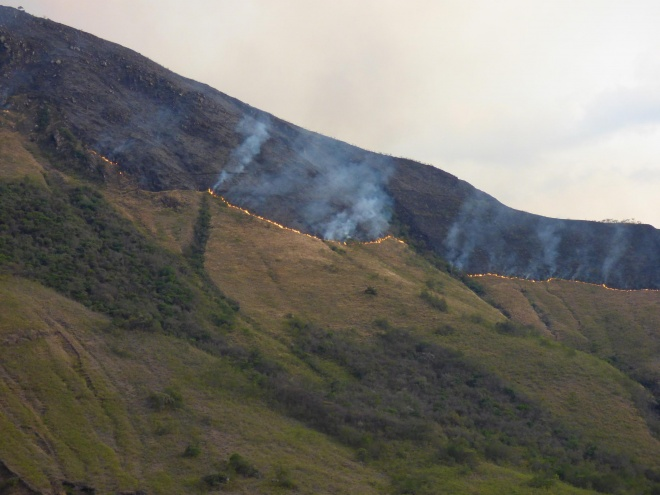 Widespread fires are set every year, to clear for agriculture and in the belief it will  'make it rain' (photo VZ)